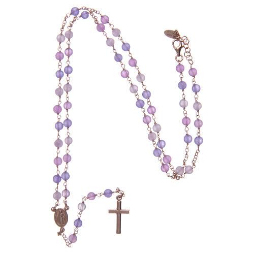 Collana rosario classico Arg 925 AMEN rosé con grani giada lilla 4