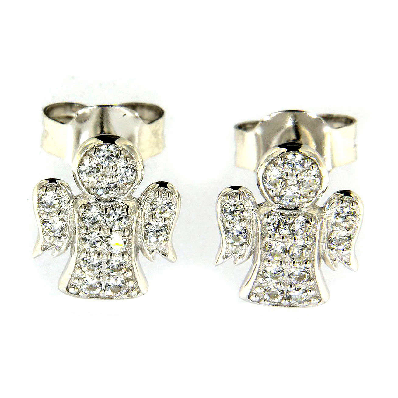 AMEN earrings in 925 sterling silver finished in rhodium with zircons 4