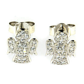 AMEN earrings in 925 sterling silver finished in rhodium with zircons s1