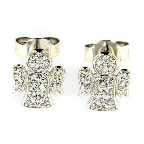 AMEN earrings in 925 sterling silver finished in rhodium with zircons 1