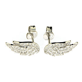AMEN earrings in 925 sterling silver finished in rhodium with zirconate wings s1