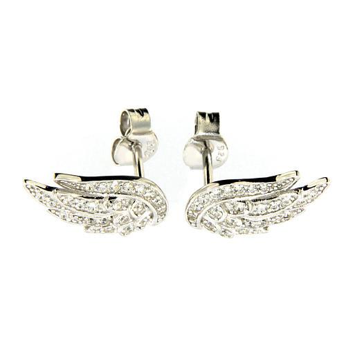 AMEN earrings in 925 sterling silver finished in rhodium with zirconate wings 1