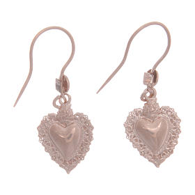 Pendants, crosses and pins: 925 sterling silver earrings with rosè votive drilled heart 1,5 cm