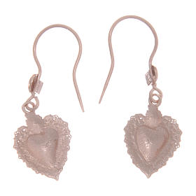 925 sterling silver earrings with rosè votive drilled heart 1,5 cm s2