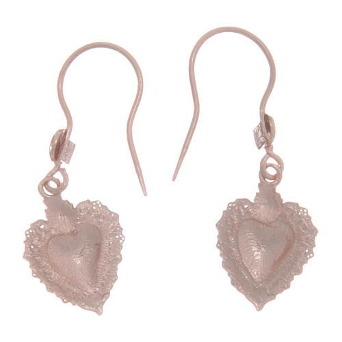 Orecchini argento 925 rosé cuore votivo traforato 1,5 cm 2