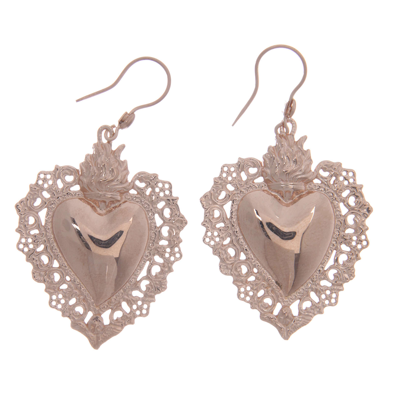 925 sterling silver earrings with rosè votive drilled heart 4 cm 4