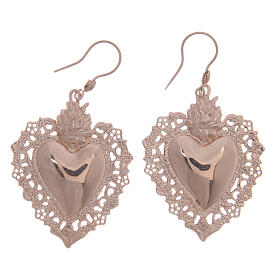 Pendants, crosses and pins: 925 sterling silver earrings with rosè votive drilled heart 4 cm