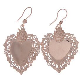 925 sterling silver earrings with rosè votive drilled heart 4 cm s2