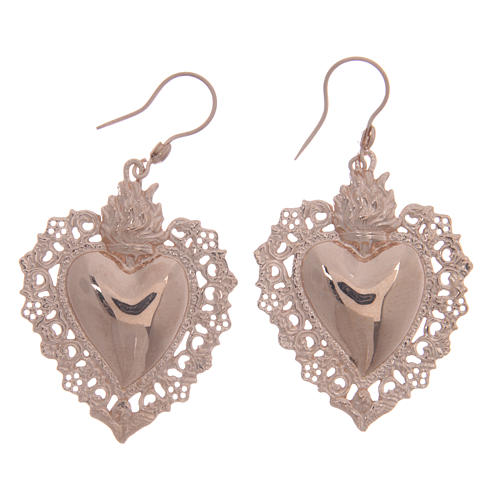 925 sterling silver earrings with rosè votive drilled heart 4 cm 1
