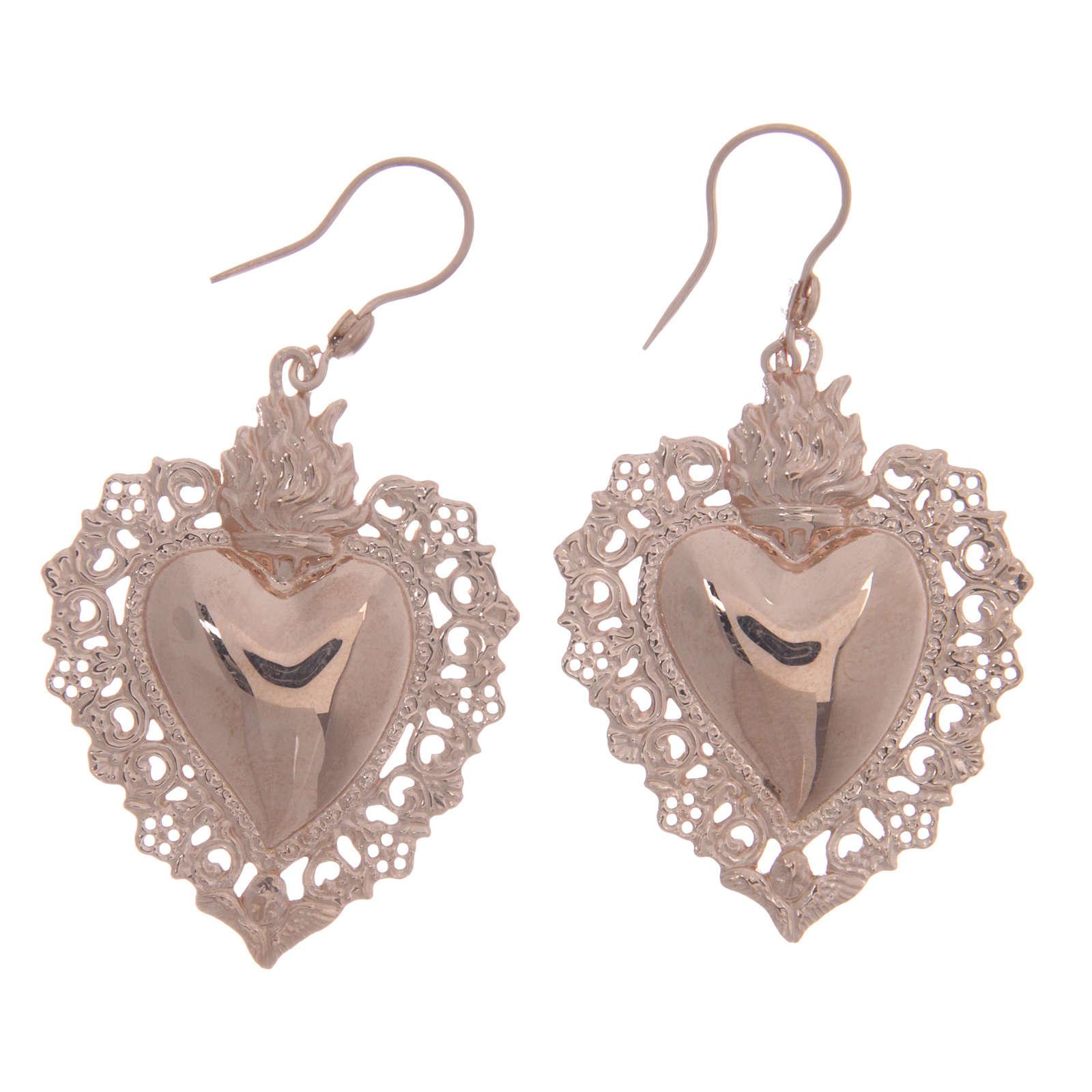 Orecchini argento 925 rosé cuore votivo traforato 4 cm 4