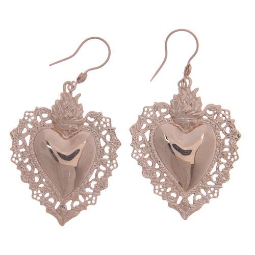 Orecchini argento 925 rosé cuore votivo traforato 4 cm 1