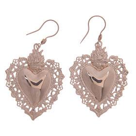 Pingentes, Cruzes, Broches, Correntes: Brincos prata 925 rosê coração ex-voto rendilhado 4 cm