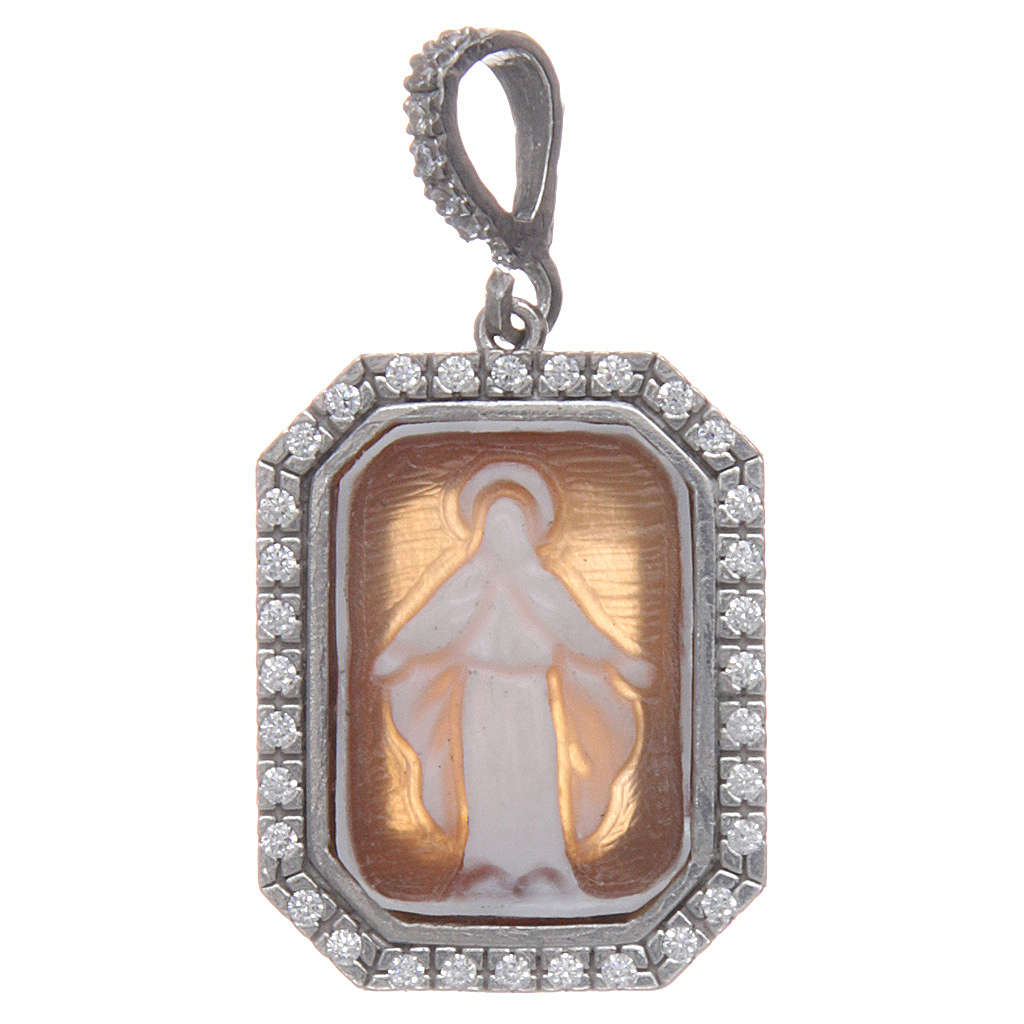 Ciondolo argento 925 zirconi e cammeo Miracolosa 4