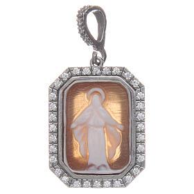 Ciondolo argento 925 zirconi e cammeo Miracolosa s1