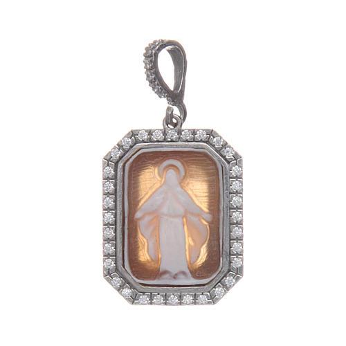 Ciondolo argento 925 zirconi e cammeo Miracolosa 3