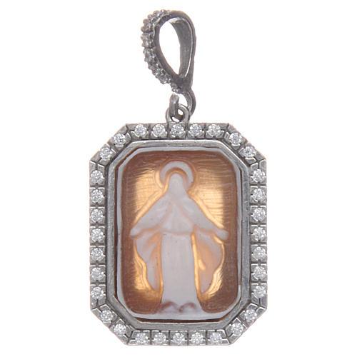 Ciondolo argento 925 zirconi e cammeo Miracolosa 1