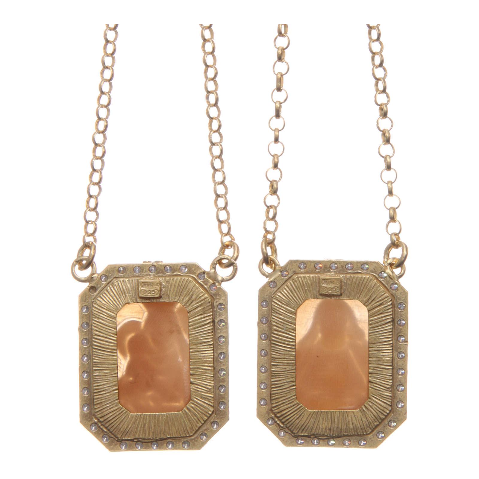 Collana scapolare argento 925 dorato medaglie ottagonali zirconi bianchi e cammei 4