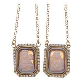 Collana scapolare argento 925 dorato medaglie ottagonali zirconi bianchi e cammei s1
