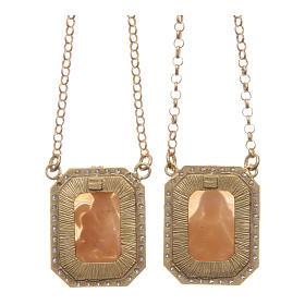 Collana scapolare argento 925 dorato medaglie ottagonali zirconi bianchi e cammei s2