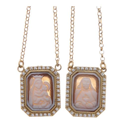 Collana scapolare argento 925 dorato medaglie ottagonali zirconi bianchi e cammei 1
