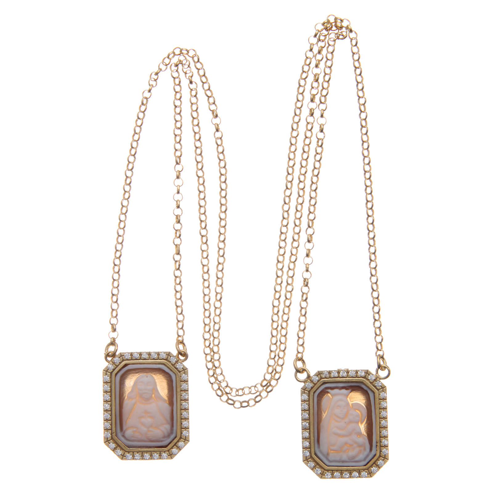 Bachelor necklace in golden 925 sterling silver with octagonal medals, white zircons and cammeos 4