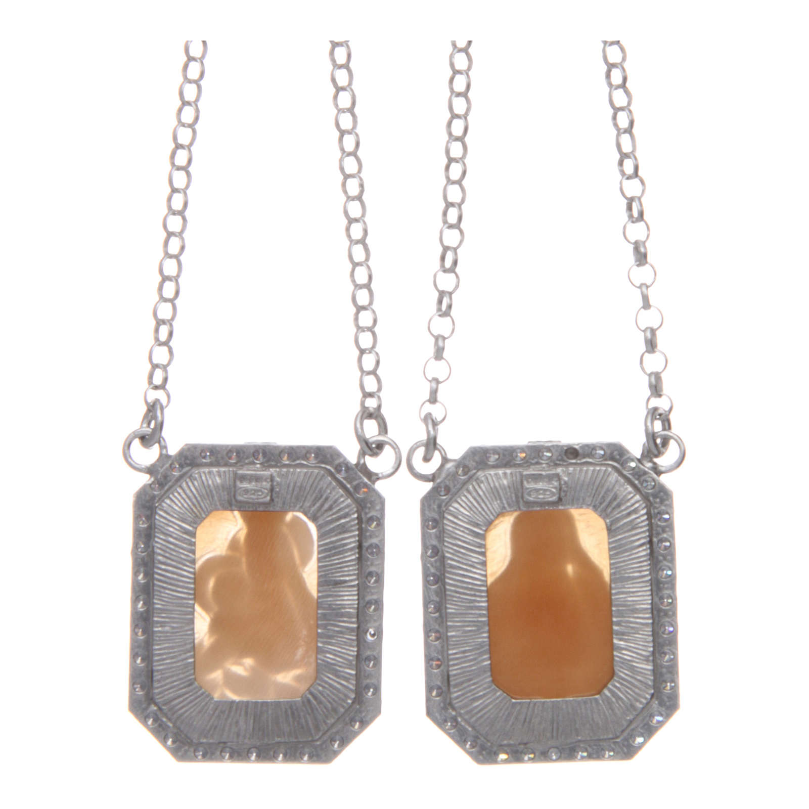 Collana scapolare argento 925 rodiato medaglie ottagonali zirconi bianchi e cammei 4