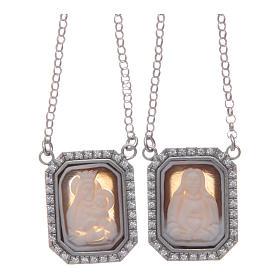 Collana scapolare argento 925 rodiato medaglie ottagonali zirconi bianchi e cammei s1