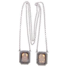Collana scapolare argento 925 rodiato medaglie ottagonali zirconi bianchi e cammei s3