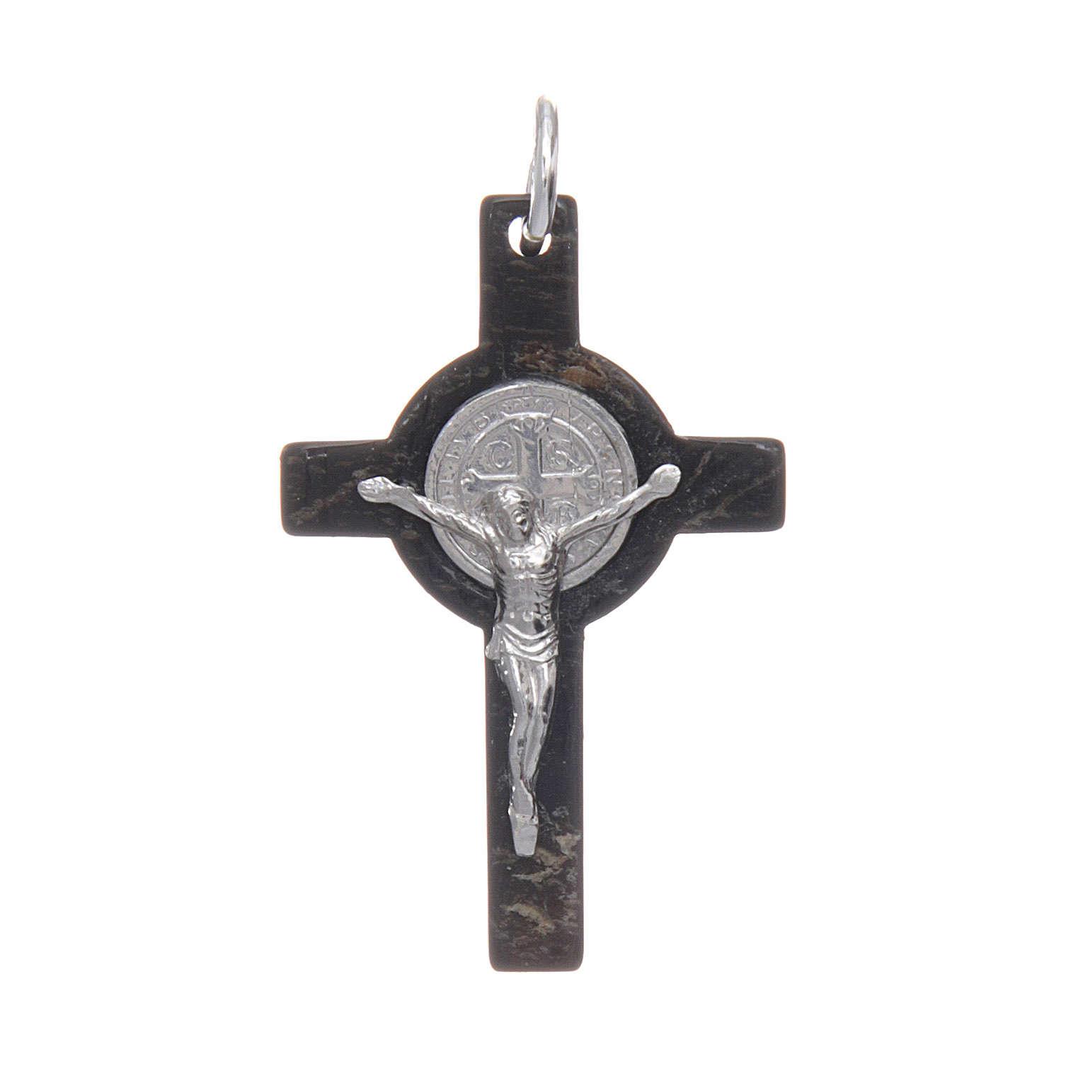 Croce in corno Cristo argento 925 medaglia S. Benedetto nero 4