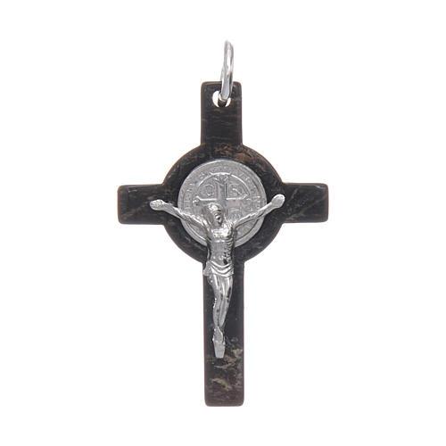 Croce in corno Cristo argento 925 medaglia S. Benedetto nero 1