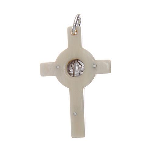 Croce in corno Cristo argento 925 medaglia S. Benedetto bianco 2