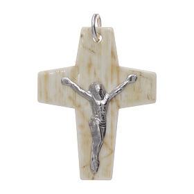 Croce corno Cristo argento 925 rodiato bianco s1