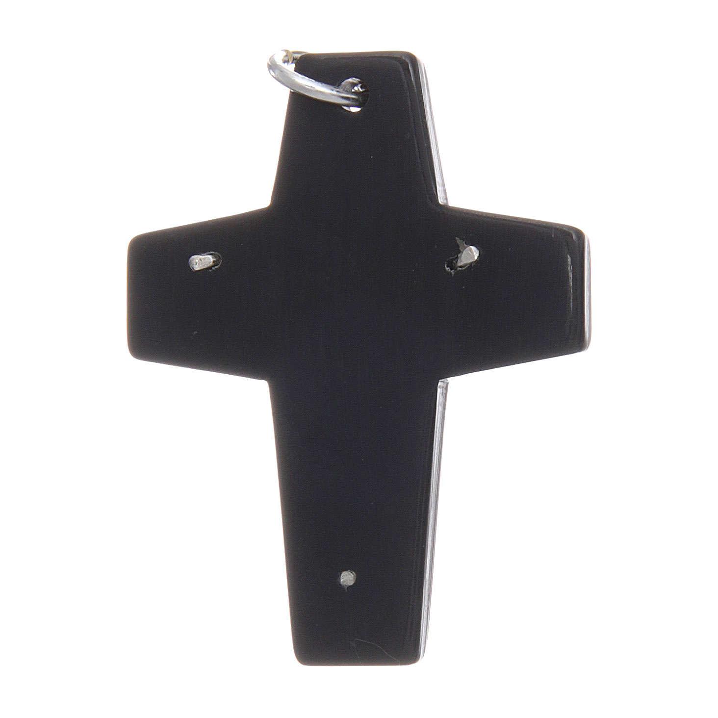 Croce corno Cristo argento 925 rodiato nero 4