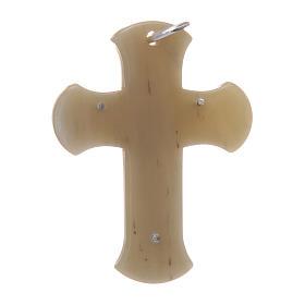 Croce in corno con Cristo argento 925 rodiato bianco s2