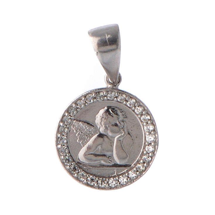 Medaglietta angelo e zirconi argento 4