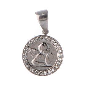 Medaglietta angelo e zirconi argento s1