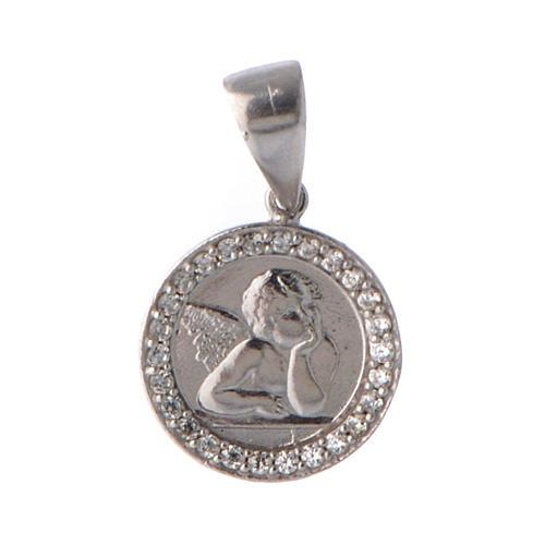 Medaglietta angelo e zirconi argento 1