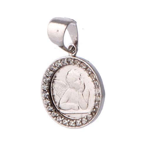 Medaglietta angelo e zirconi argento 3