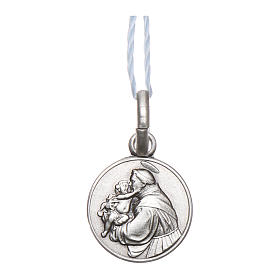 Rhodium plated medal in silver with St. Anthony of Padua 10 mm s1