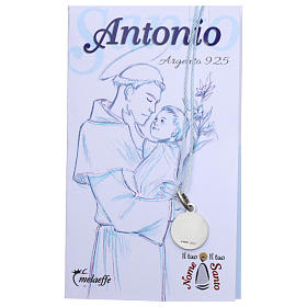 Rhodium plated medal in silver with St. Anthony of Padua 10 mm s2