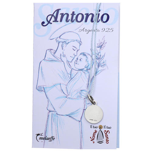 Rhodium plated medal in silver with St. Anthony of Padua 10 mm 2