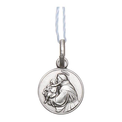 Medalla San Antonio de Padua Plata 925 rodiada 10 mm 1