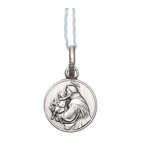 Medaglia Sant'Antonio da Padova Argento 925 rodiata 10 mm s1