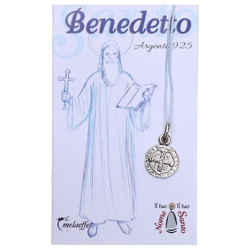 Médaille St Benoît argent 925 rhodié 10 mm 2