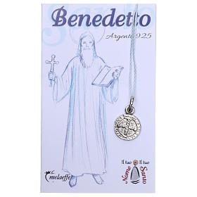 Medalha São Bento prata 925 radiada 10 mm