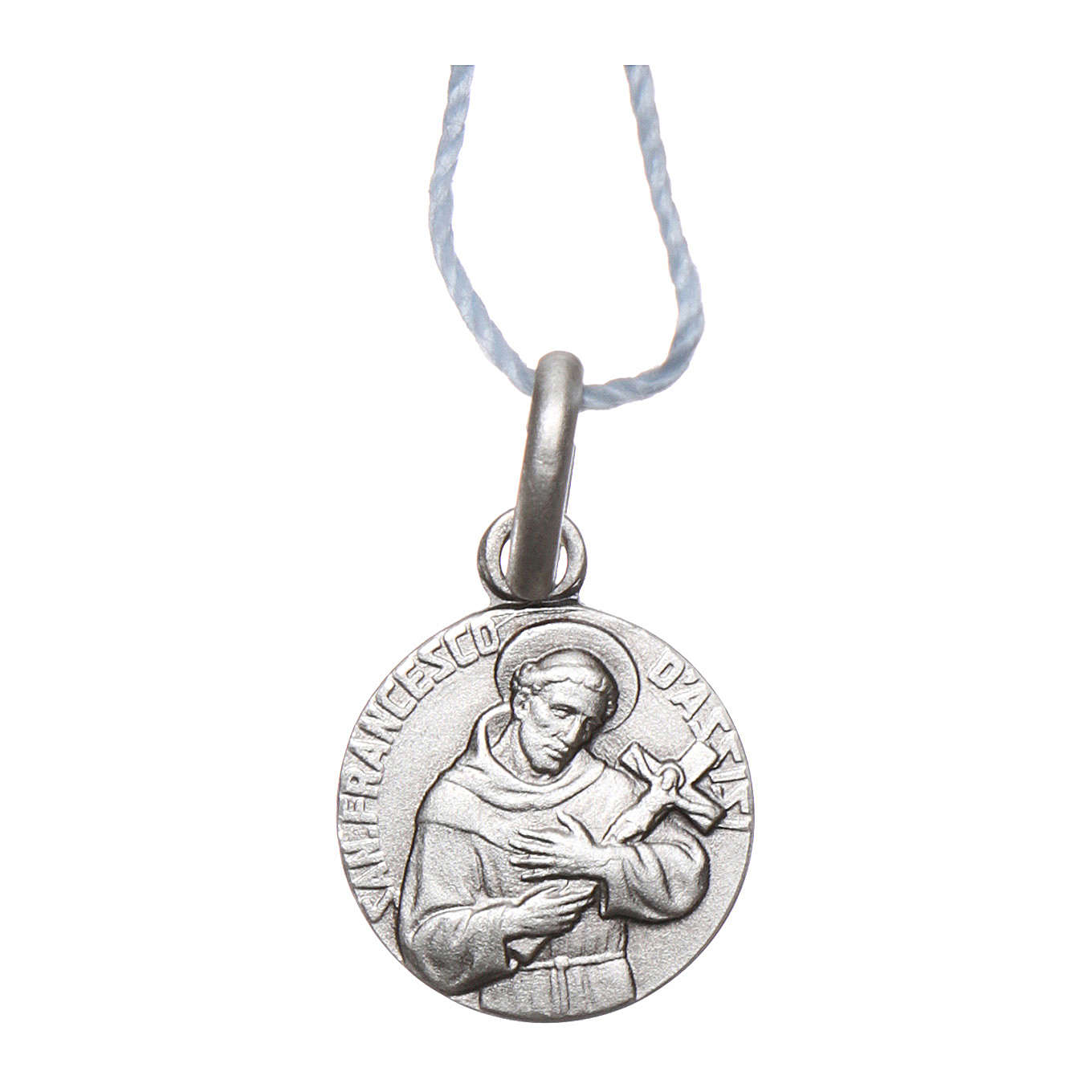 Rhodium plated medal in silver with St. Francis of Assisi 10 mm 4