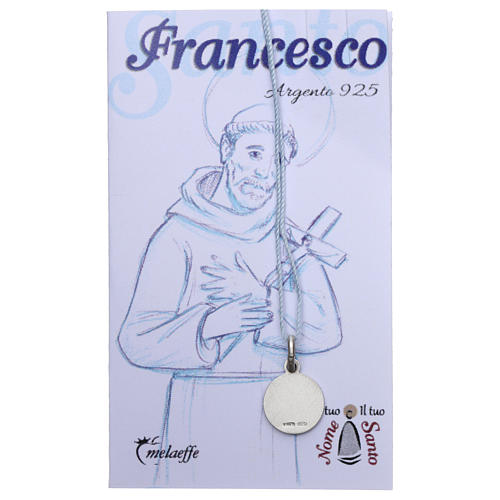 Medaglia San Francesco d'Assisi Argento 925 rodiata 10 mm 2