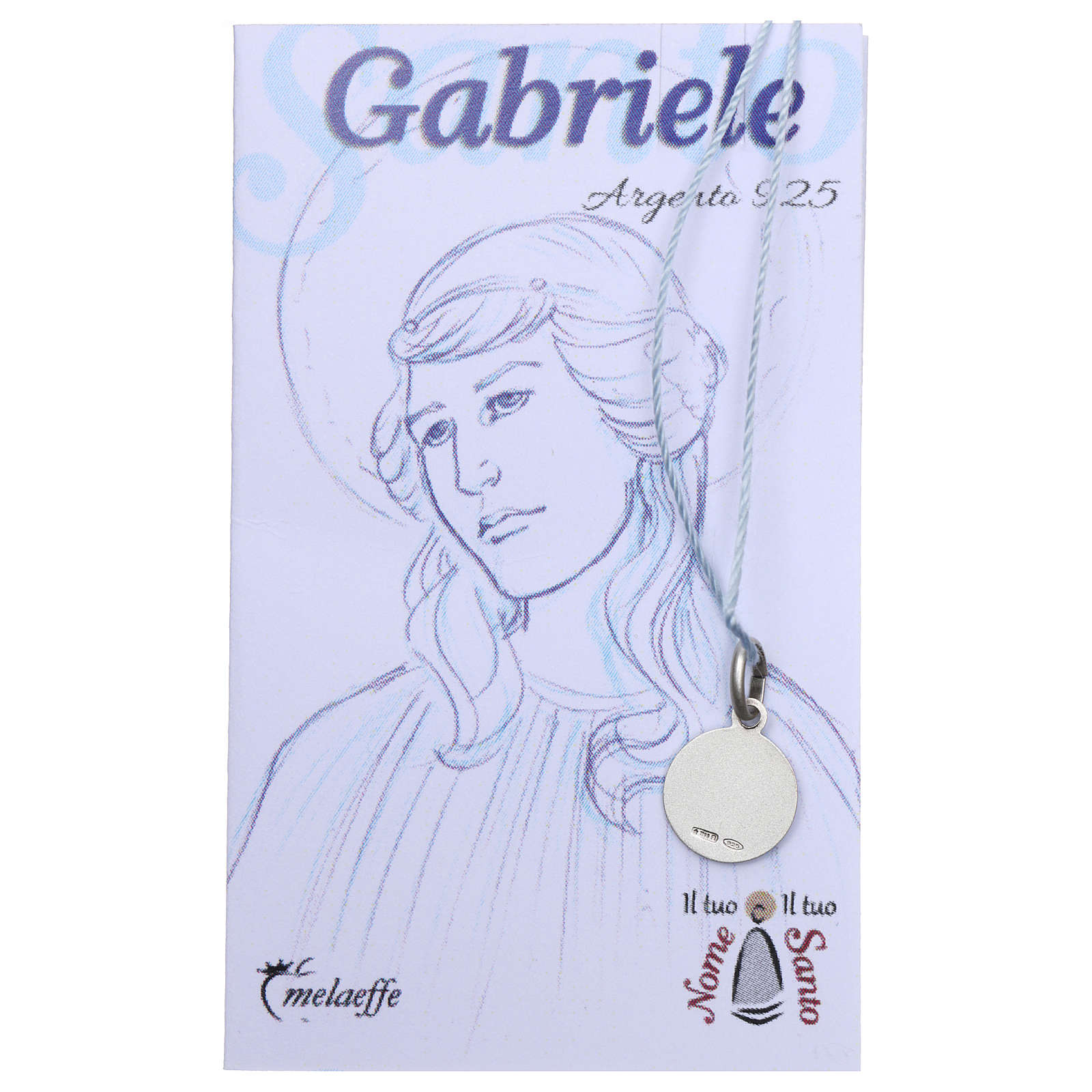 St Gabriel medal, Sterling Silver rhodium plated 4