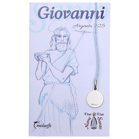 Rhodium plated medal in silver with St. John the Baptist 10 mm s2