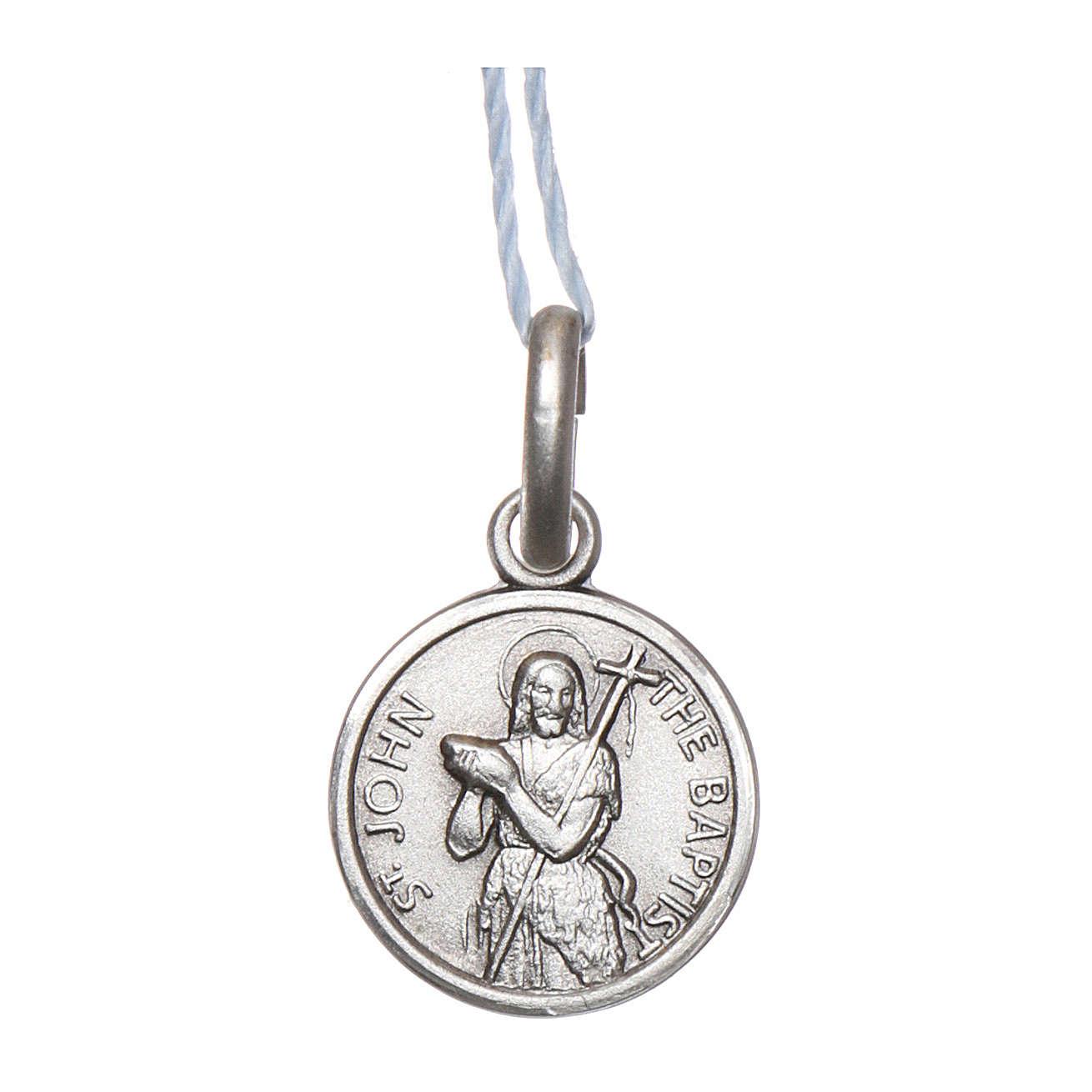 Medaglia San Giovanni Battista Argento 925 rodiata 10 mm 4